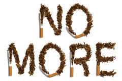 NO MORE. Written with destroyed cigarettes Stock Photo