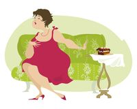 No more cakes. Plump lady stands against temptation Vector Illustration