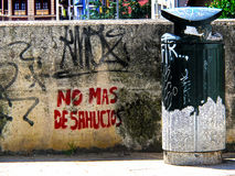 No more evictions. Graffiti no more evictions on a wall of the city stock images