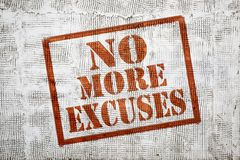No more excuses graffiti on stucco wall. No more excuses - graffiti sign with arrow on stucco wall royalty free stock images