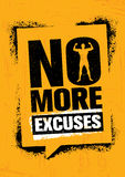 No More Excuses. Workout Gym Sport Motivation Vector Design Concept. Strong Banner With Grunge Speech Bubble. Stock Photography