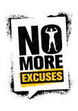 No More Excuses. Workout Gym Sport Motivation Vector Design Concept. Strong Banner With Grunge Speech Bubble. Royalty Free Stock Photos