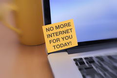 No More Internet For You Today!. No More Internet For You Today. Yellow paper note on laptop screen with writing No More Internet For You Today Stock Images