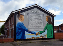No More mural, Belfast, Northern Ireland. No More mural on the side of a building in Belfast, Northern Ireland Stock Image