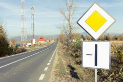 No more overtake restrictions road sign outdoors Royalty Free Stock Image