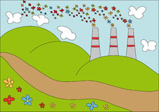 No more polution. Factory with flower smoke over green grass field and blue sky Royalty Free Stock Image