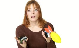 No more toys #2!. Isolated mom tired of picking up toy ,focus on face royalty free stock photo
