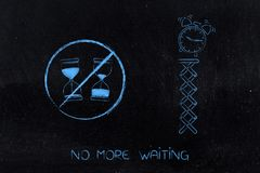 No more waiting hourglass with time passying by crossed out next. No more waiting conceptual illustration: hourglass with time passying by crossed out next to Royalty Free Stock Photo