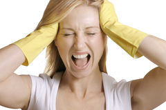 No more work. A female, housewife or cleaner screams.  Her reaction to housework Royalty Free Stock Photos