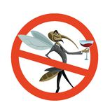 No mosquito. Vector image of simbol with mosquito Stock Photo
