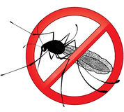 No mosquito gnat insect vector sign. Royalty Free Stock Images
