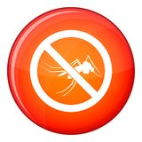 No mosquito sign icon, flat style Royalty Free Stock Images