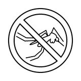 No mosquito sign icon, outline style Stock Photography
