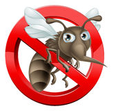 No Mosquito sign 2014 A3. A no mosquitoes illustration of a cartoon mosquito in red circle stop sign Royalty Free Stock Images