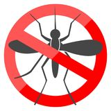 No Mosquito simple sign. Icon vector illustration