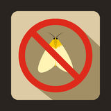 No moth sign icon, flat style. No moth sign icon in flat style on a beige background Royalty Free Stock Photography