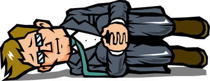 No motivation businessman. Lackadaisical businessman to lie in a sitting state Stock Images