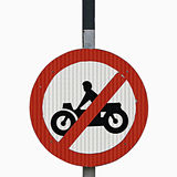 No motor Bike vehicles sign. Near a toll plaza Stock Photos