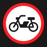 No motorcycle prohibition sign flat icon stock photos