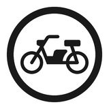 No motorcycle prohibition sign line icon Stock Image