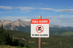 No mountain biking sign Royalty Free Stock Images