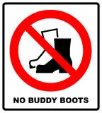 No Muddy Boots Symbol. Rain boots prohibition sign. Red warning prohibition icon. Vector illustration isolated on white. Black sim Royalty Free Stock Photo