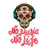 No music no life. Hand drawn lettering phrase. Mexican sugar skull in headphones. Design element for poster, card, emblem, t shirt vector illustration