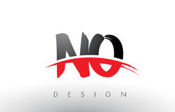 NO N O Brush Logo Letters with Red and Black Swoosh Brush Front Royalty Free Stock Image