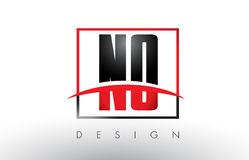 NO N O Logo Letters with Red and Black Colors and Swoosh. Royalty Free Stock Images