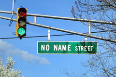 No Name Street Named Road Direction Traffic Sign. No Name Street named road direction sign on an intersection overhead city traffic light signal mast arm Royalty Free Stock Images