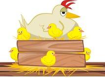 No ninho - galinha e pintainhos Imagens de Stock Royalty Free