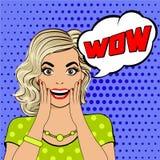 NO! NO! bąbla wystrzału sztuki kobiety zaskakująca twarz Zdjęcie Royalty Free
