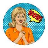 NO! NO! bąbla wystrzału sztuki kobiety zaskakująca twarz Wystrzał sztuki ilustracja komiczny styl, dziewczyny mowy bąbel Obraz Royalty Free
