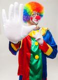 No no: Clown making a stop sign Stock Images