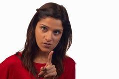 No, no, no. Middle eastern woman saying no, no no, motion blur at finger Royalty Free Stock Image