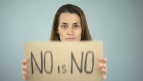 No is no sign in woman hands, violence against women prevention, gender equality. Stock footage stock video footage