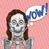 NO! NO!! Zdziwiony żeński kościec Bąbel mowy element tła pięknej kędzierzawej dziewczyny włosiane zdrowe odosobnione menchie ilustracji