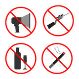 No Noise, Gun, Alcohol, Smoke Sign and Symbol. Set prohibited ic Stock Image