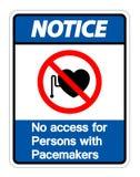 No note ningún acceso para las personas con el aislante de la muestra del símbolo de los marcapasos en el fondo blanco, ejemplo d ilustración del vector