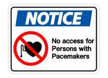 No note ning?n acceso para las personas con el aislante de la muestra del s?mbolo de los marcapasos en el fondo blanco, ejemplo d stock de ilustración