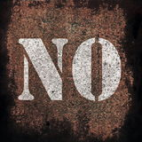 No on old rusty metal plate background Stock Photo