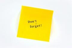 No olvide el post-it Imágenes de archivo libres de regalías