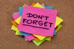 No olvide el recordatorio Imágenes de archivo libres de regalías
