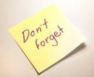 No olvide la nota Fotografía de archivo libre de regalías