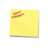 No olvide la nota amarilla Imágenes de archivo libres de regalías