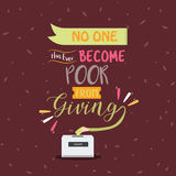 No one become poor from giving quotes poster motivation text concept vector illustration