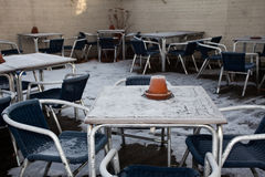 No one here. A empty cafe garden in the snow of North London Stock Image