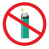 No open fire sign. Forbidden sign with flip lighter glyph icon. Stop symbol. No smoking prohibition. Negative space. Vector isolated illustration Stock Photo