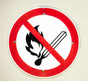 No open fire sign Stock Images