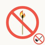 No open fire sign. Set of prohibitory signs with burning match in a round crossed out red frame. Vector. Stock Images